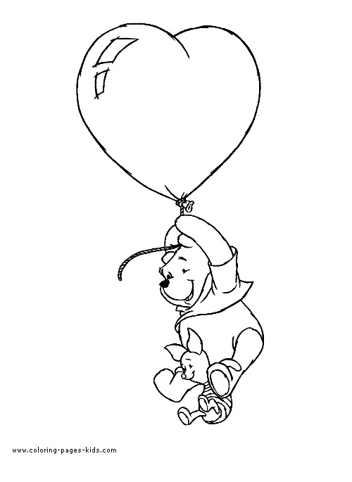 Page A Colorier Winnie Ourson Avec Ballon Coeur Service D