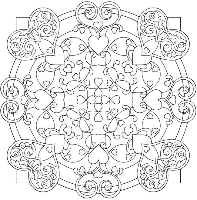 Coloriage mandala avec des coeurs | Service d\'Entraide Espoir