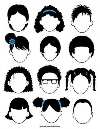 12 faces avec cheveux sans visage qu'il faut dessiner.