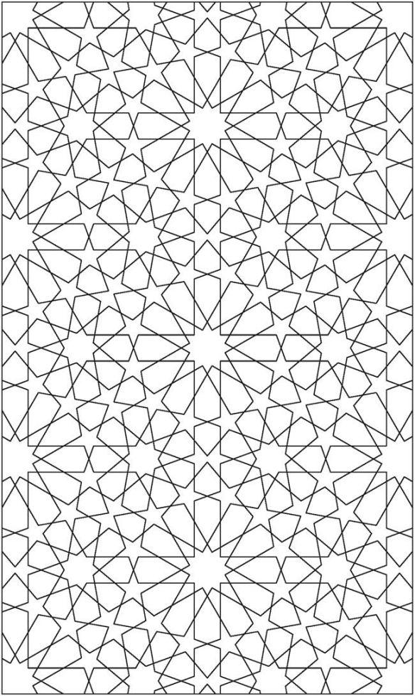 page a colorier avec des étoiles fait de lignes géométriques infinies.
