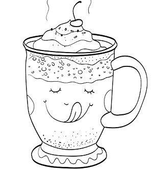 A colorier: tasse de chocolat chaud avec crème fouettée et sourire se lèchant sur la tasse