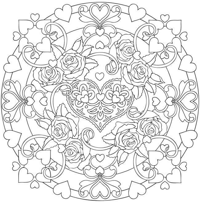 Coloriage mandala coeur et roses | Service d\'Entraide Espoir